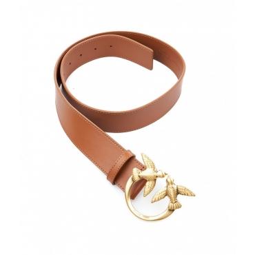 Cintura con fibbia logo Love Berry marrone chiaro