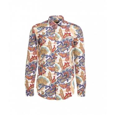 Camicia con motivo floreale multicolore