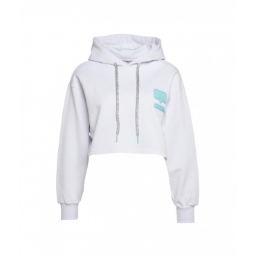 Cropped hoodie con logopatch bianco