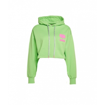 Cropped hoodie con logopatch verde