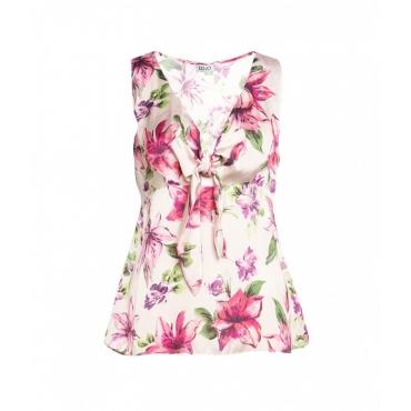 Camicia floreale rosa chiaro