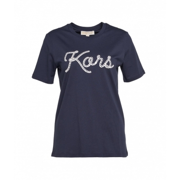T-Shirt mit Logoschriftzug blu scuro