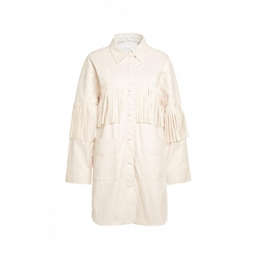 Giacca camicia in eco camoscio crema