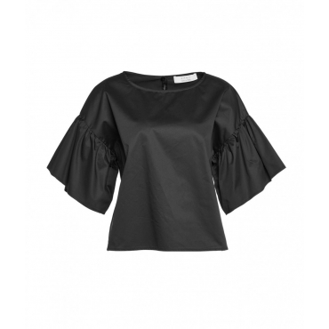 Camicia con maniche a volant nero