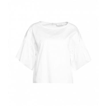 Camicia con maniche a volant bianco