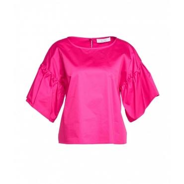 Camicia con maniche a volant pink