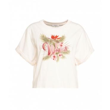 T-Shirt con stampa rosa chiaro