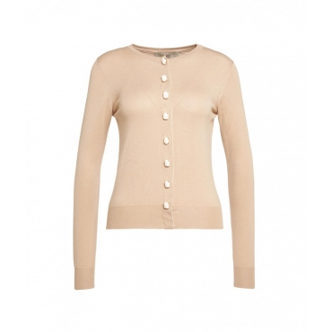 Cardigan con bottoni decorativi beige