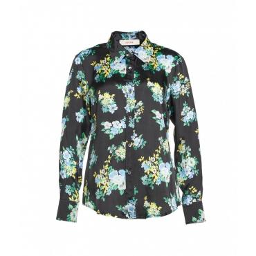 Blusa con stampa floreale nero