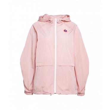 Giacca e borsa impermeabile rosa