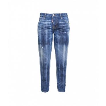 Jeans con elementi destroyed blu