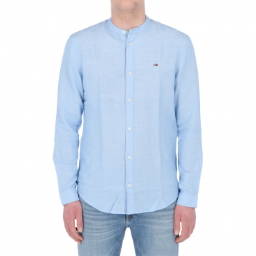 Camicia Tommy Hilfiger Jeans Uomo Mao Lino Blend C3N LIGHT BLUE