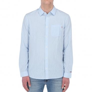 Camicia Tommy Hilfiger Jeans Uomo Seersucker Strip C65 COBALT WHITE