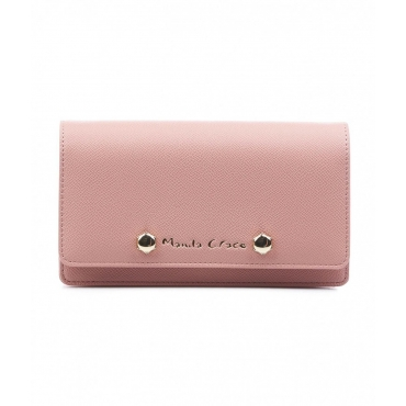 Clutch con borchie rosa