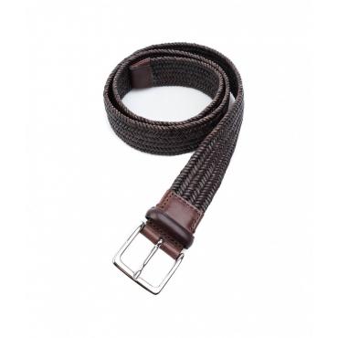 Cintura in pelle con motivo intrecciato marrone scuro