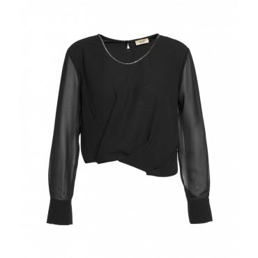 Camicia con catena gioiello nero