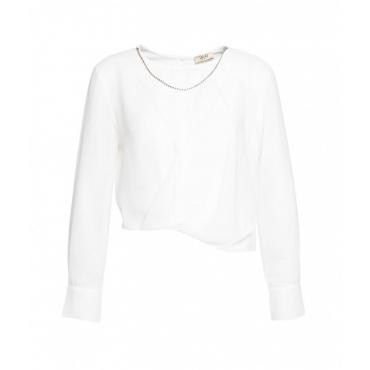Camicia con catena gioiello bianco
