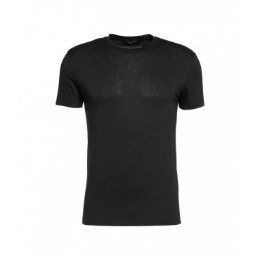 T-shirt in misto lino nero