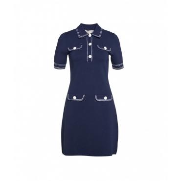 Mini abito in maglia di lana blu scuro