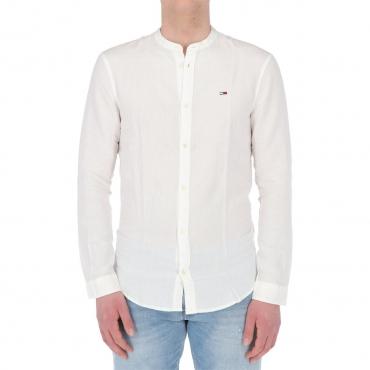 Camicia Tommy Hilfiger Jeans Uomo Mao Lino Blend YBR WHITE