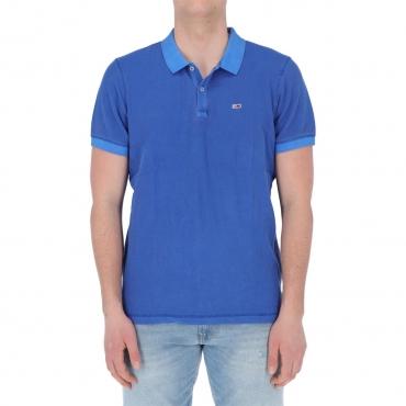 Polo Tommy Hilfiger Jeans Uomo Garment Dye Polo C65 COBALT