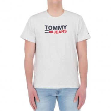 Tshirt Tommy Hilfiger Jeans Uomo Crop Logo Tee PJ4 SILVER HTR