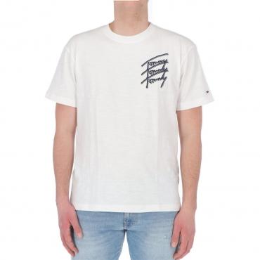 Tshirt Tommy Hilfiger Jeans Uomo Repeat Script tee YBR WHITE