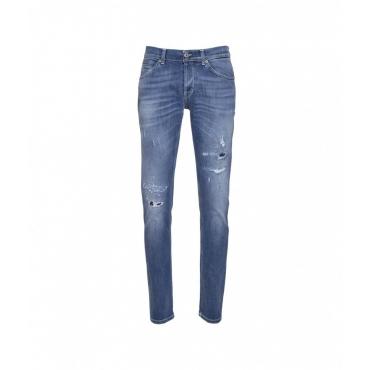 Pantaloni con elementi distrutti blu