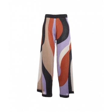 Pantaloni ampi in lurex multicolore
