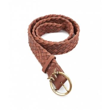 Cintura in pelle Berry Woven marrone chiaro