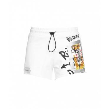 Shorts with logo print bianco