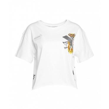 Crop top con stampa logo bianco