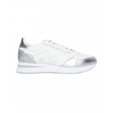 Sneakers in mix di materiali bianco