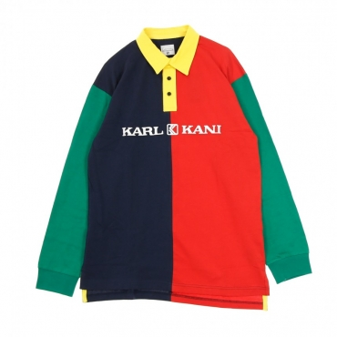 POLO MANICA LUNGA RETRO BLOCK RUGBY SHIRT RED/NAVY/GREEN