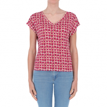 T-shirt Surkana Donna Scollo a V 32 FUCHSIA