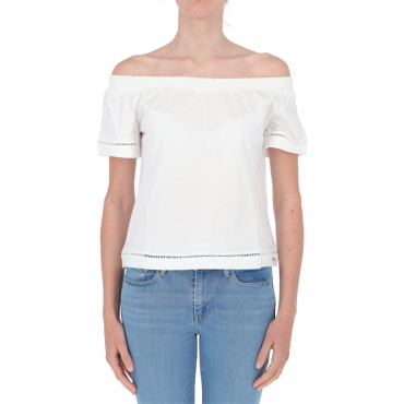 T-shirt Surkana Donna Scollo Bardot 01 WHITE