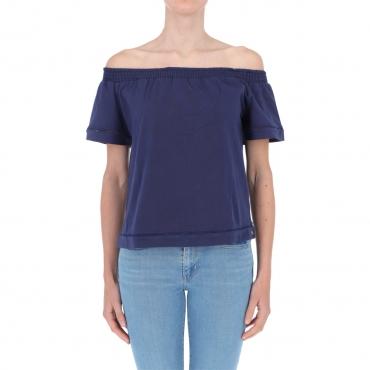 T-shirt Surkana Donna Scollo Bardot 52 NAVY BLUE