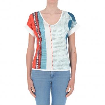 T-shirt Surkana Donna Scollo a V Fantasia 51 BLUE