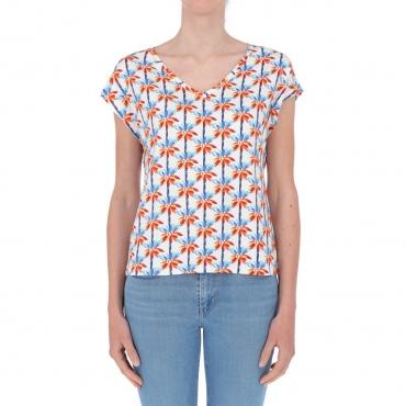 T-shirt Surkana Donna Scollo a V 01 WHITE