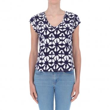 T-shirt Surkana Donna Manica Corta Scollo a V 50 SKY BLUE