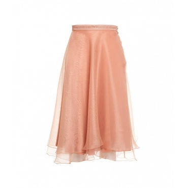 Gonna in tulle con logo salmone