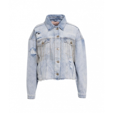 Giacca di jeans con frange di strass azzurro