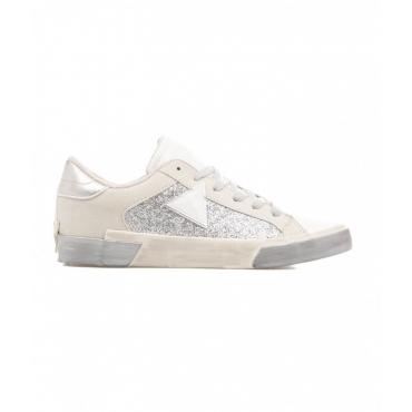Sneaker in finitura glitter argento