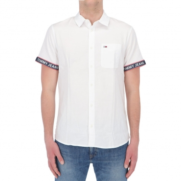 Camicia Tommy Hilfiger Jeans Uomo Tape Short Sleeve YBR WHITE