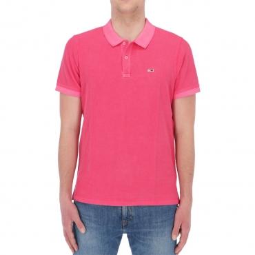 Polo Tommy Hilfiger Jeans Uomo Garment Dye Polo T1K PINK