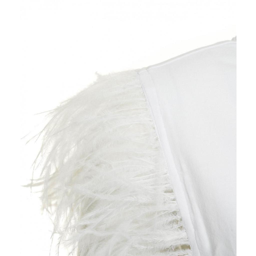 Top con applicazione di piume bianco