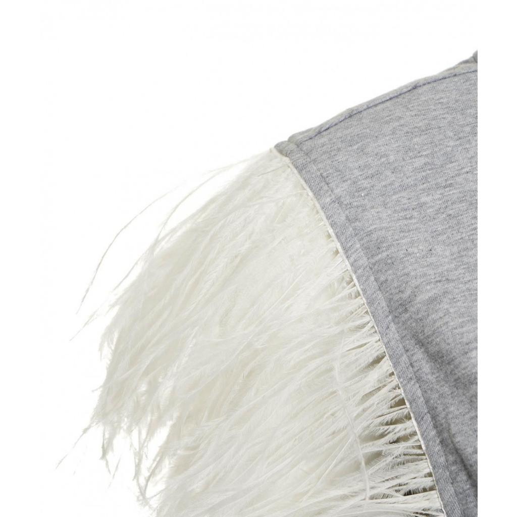 Top con applicazione di piume grigio
