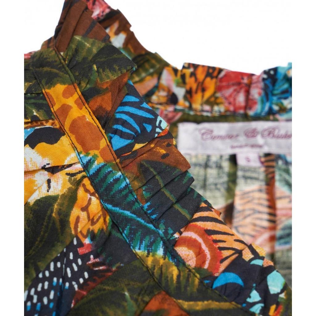Tunica con stampa all-over multicolore