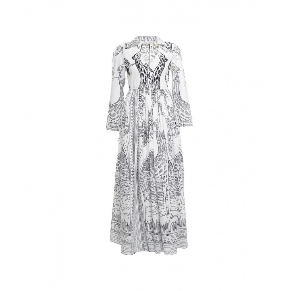 Maxi abito con stampa bianco