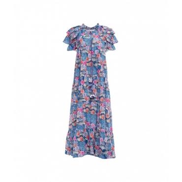 Maxi Kleid mit All-over-Print Blau